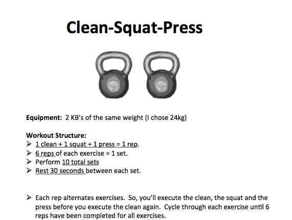A Tough 20 Minute Kettlebell Workout: Clean+Squat+Press – M